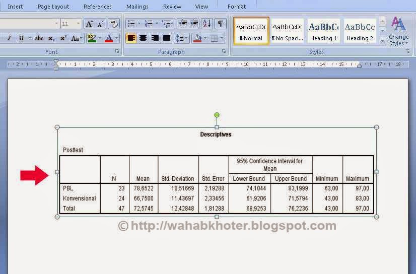 hasil akhir copy-paste spss ke word