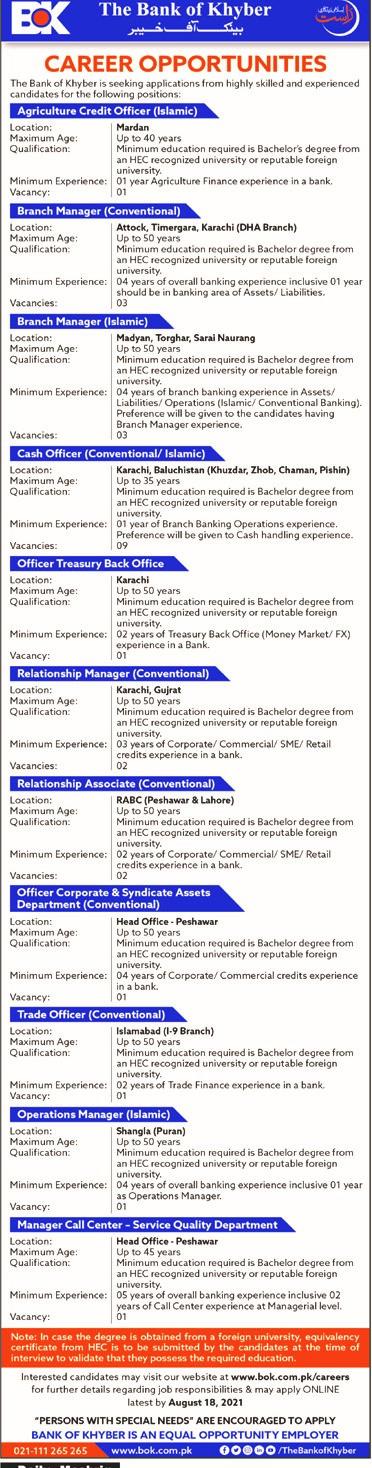 The Bank of Khyber BOK Jobs 2021, (بینک آف خیبر کی نوکریاں), latest jobs, bank of khyber jobs, Jobs near me