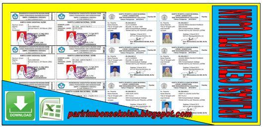 DOWNLOAD APLIKASI CETAK KARTU UJIAN UNTUK SD/MI, SMP/TSANAWIYAH, SMA/MA DAN SMK