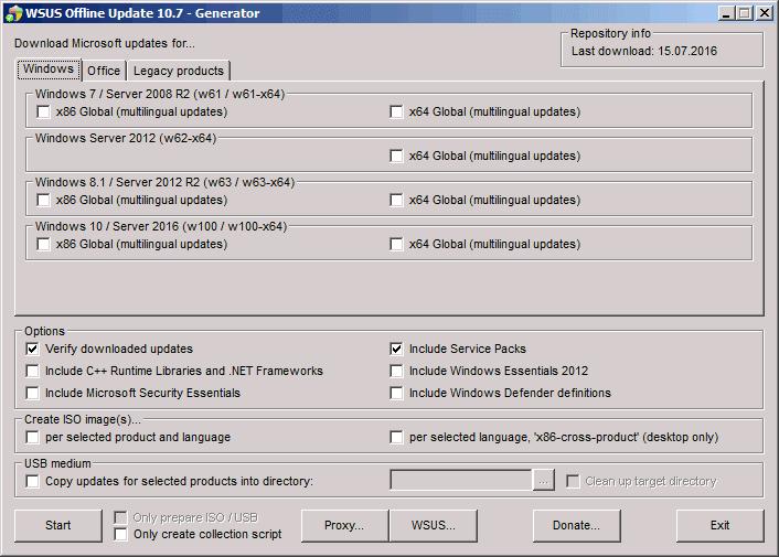 WSUS Offline Update - update any computer running Microsoft