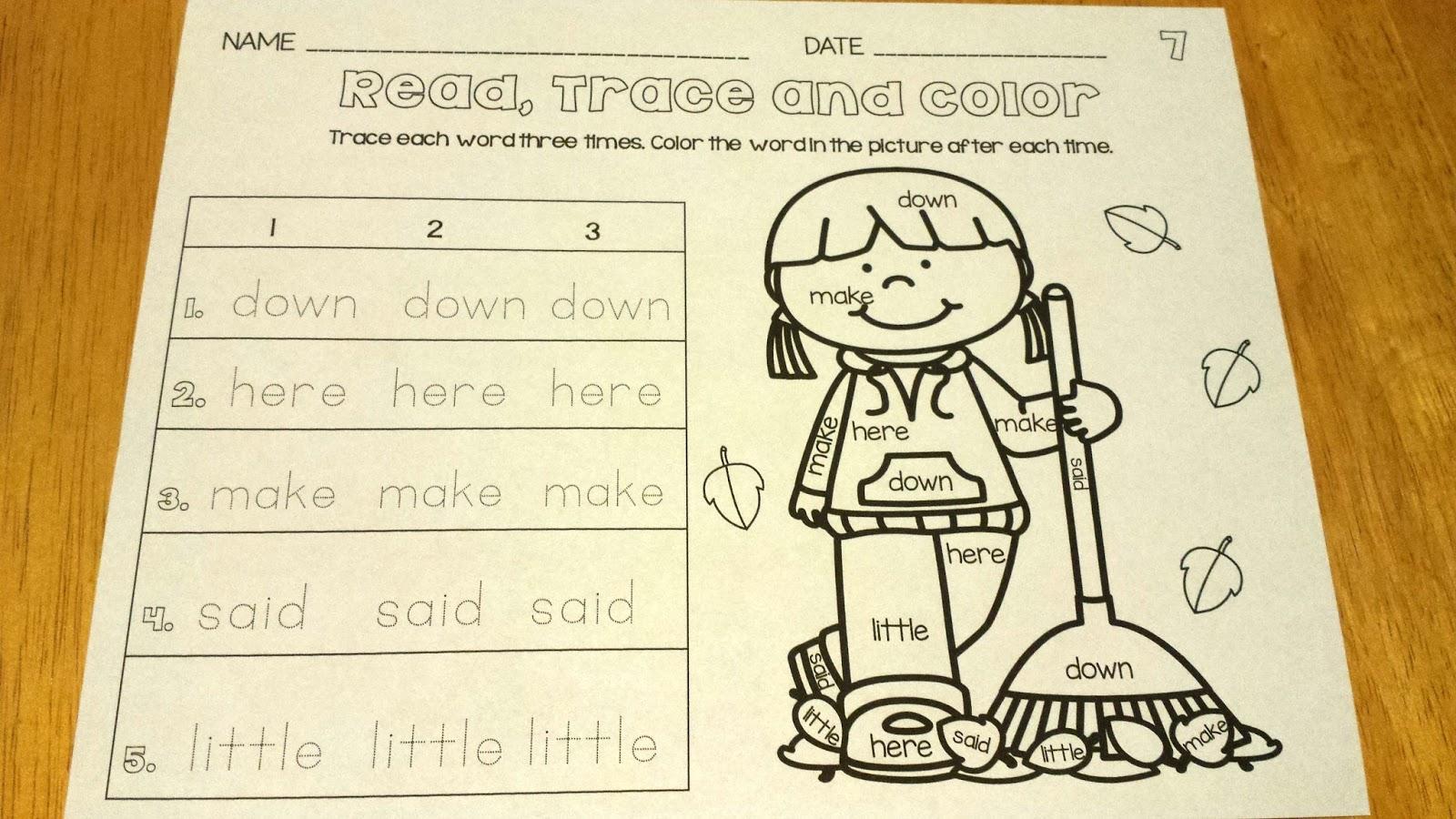 Your Teacher Assistant No Prep Sight Words Read Trace Amp Color