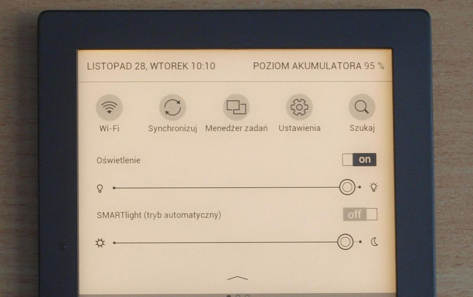 Fragment górnej częśći ekranu czytnika PocketBook Touch HD 2 z ustawioną najcieplejszą barwą podświetlenia