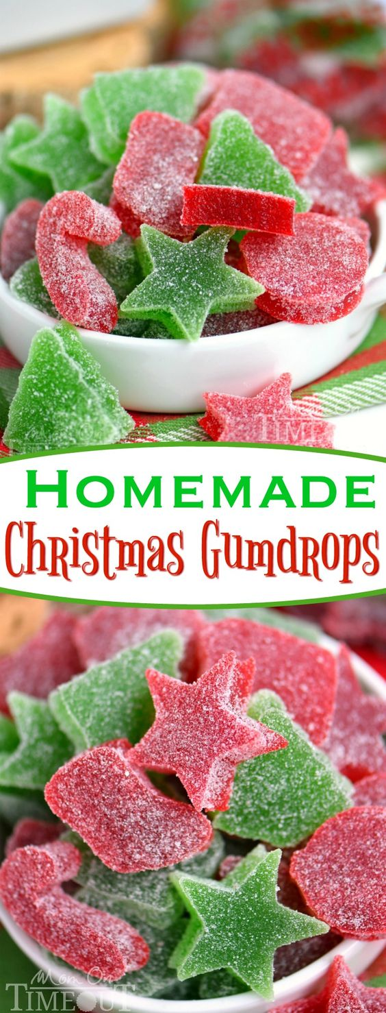 These Homemade Gumdrops are the perfect treat to make for friends and family during the holidays! Made with just a handful of ingredients - including applesauce - these gumdrops are sure to become a holiday tradition! A Christmas favorite with our family! // Mom On Timeout #Christmas #candy #recipe #gumdrop #gumdrops #desserts #dessert #candymaking #holidays #treats #treat #merry