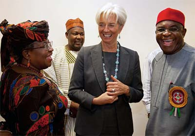 International Monetary Fund's Christine Lagarde, Nigerian Finance Minister Ngozi Okonjo-Iweala and Senate Leader David Mark in December 19, 2011 at the National Assembly Complex in Abuja, Nigeria.