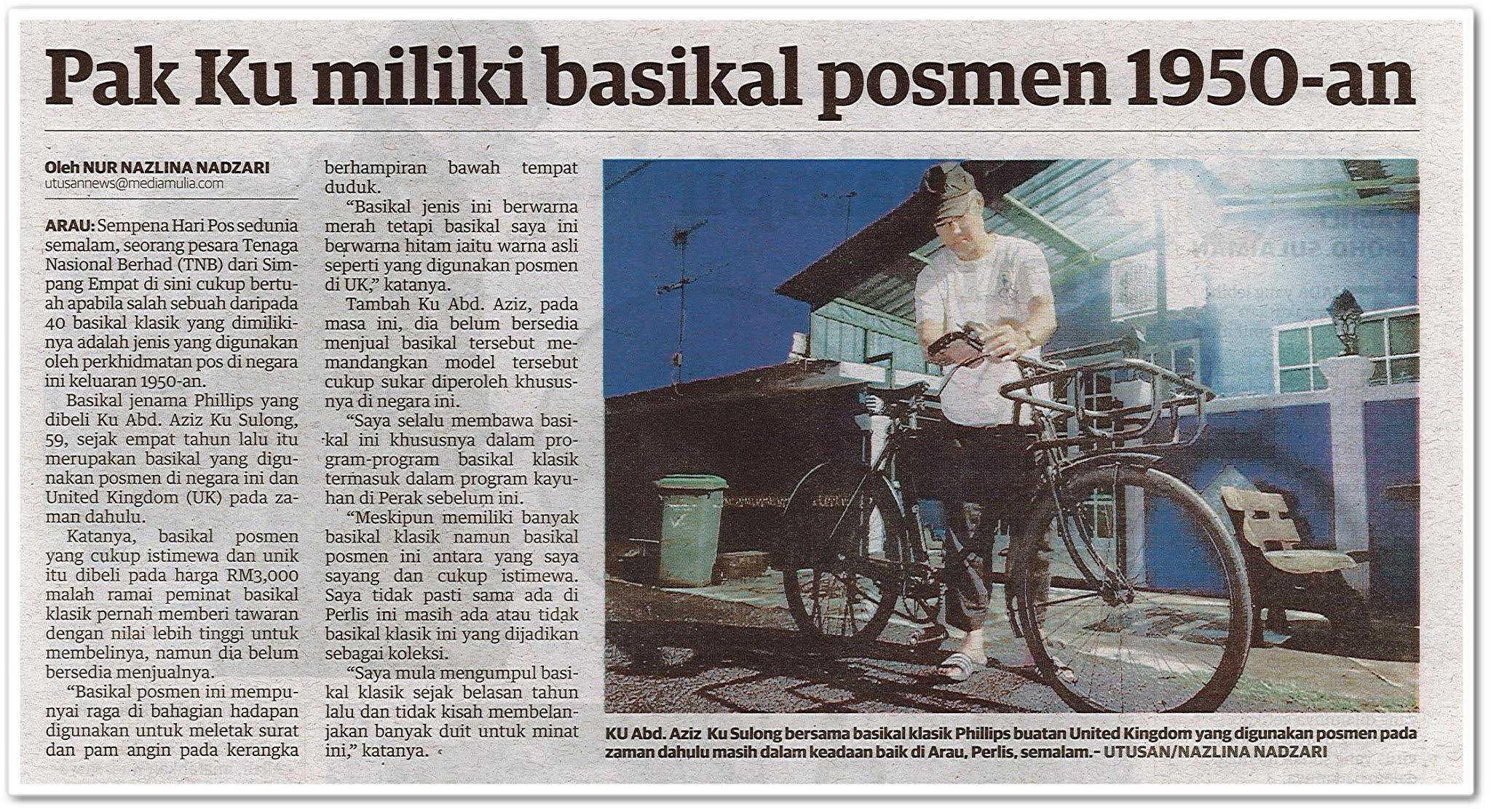 Pak Ku miliki basikal posmen 1950 an - Keratan akhbar Utusan Malaysia 10 Oktober 2020
