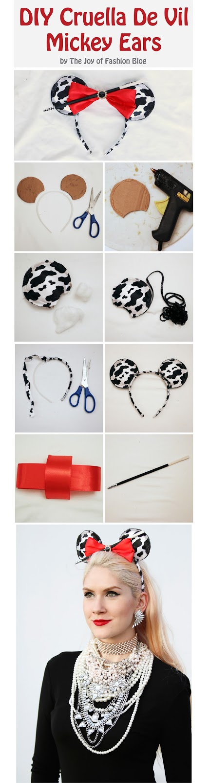 Click through to see the full tutorial on these Cruella De Vil inspired Mickey Ears!