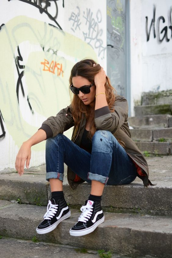 Stella Wants to Die - Khaki Satin Bomber Jacket + Black Vans Sk8 Hi Sneakers