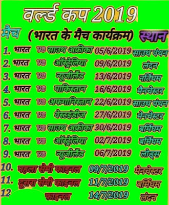 IPL 2019 Ka Time Table in Hindi