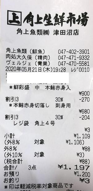 角上魚類 津田沼店 2020/5/21 のレシート
