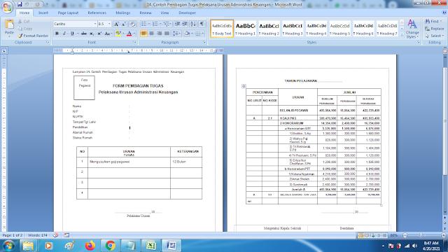 Contoh Pembagian Tugas Pelaksana Urusan Administrasi Keuangan Sekolah