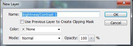 Adjustment Layer dengan brightness Contrass