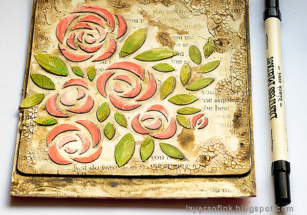 Layers of ink - Roses Mixed Media Panel Tutorial by Anna-Karin Evaldsson. Add shading.