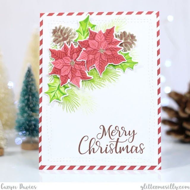 Sunny Studio Stamps: Petite Poinsettias Customer Card by Caryn Davies