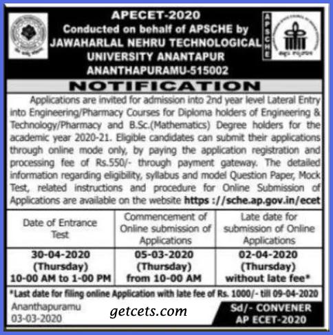 AP ECET notification 2021-2022 pdf, apply online, exam date