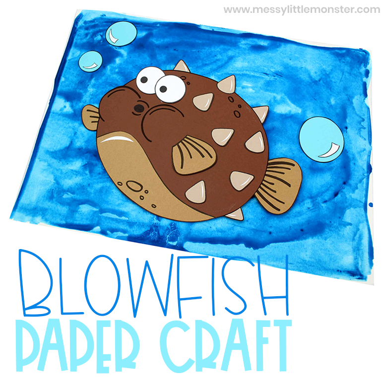 Fun & easy fish paper craft with blowfish craft template.