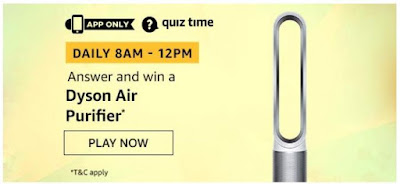Amazon Quiz Answers Today 04 August 2020 Win Dyson Air Purifier