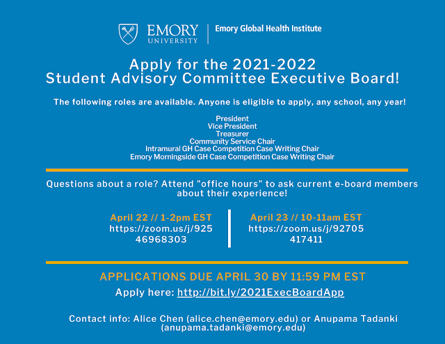 Emory Academic Calendar Fall 2022.Emory Pre Health Advising Blog Emory Global Health Institute Apply For The Student Advisory Committee Executive Board