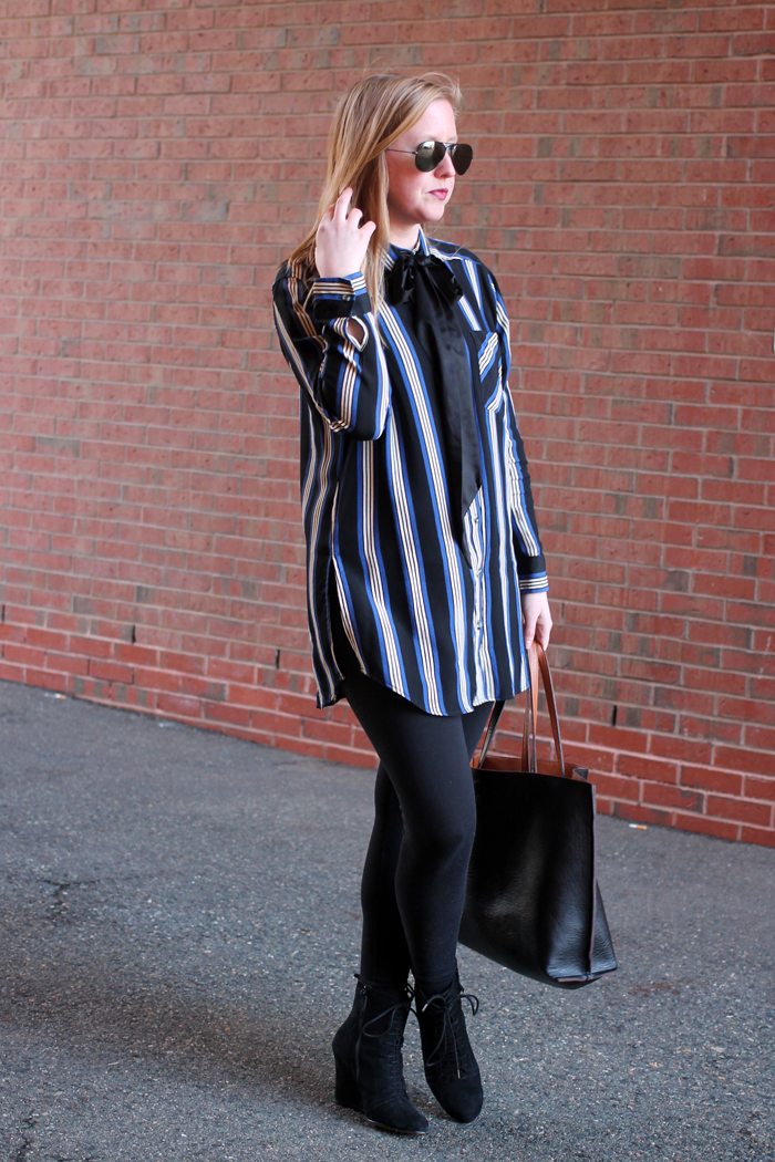 topshop oversized stripe top, topshop tunic top, blue stripe topshop blouse, boston fashion blogger, charlestown boston style, what i wore blog, blogger fashion