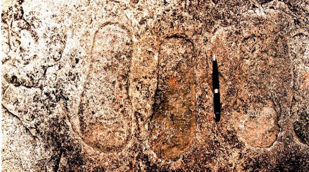 Ancient Footprints UFO Engraving India