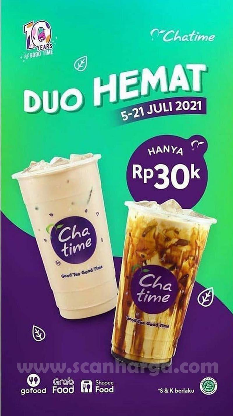 Promo Chatime DUO HEMAT hanya Rp. 30 ribu 2 Cup (Selected menu)