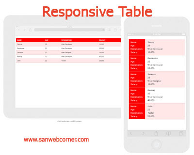 Create Simple and perfect Responsive table using css3 and jquery