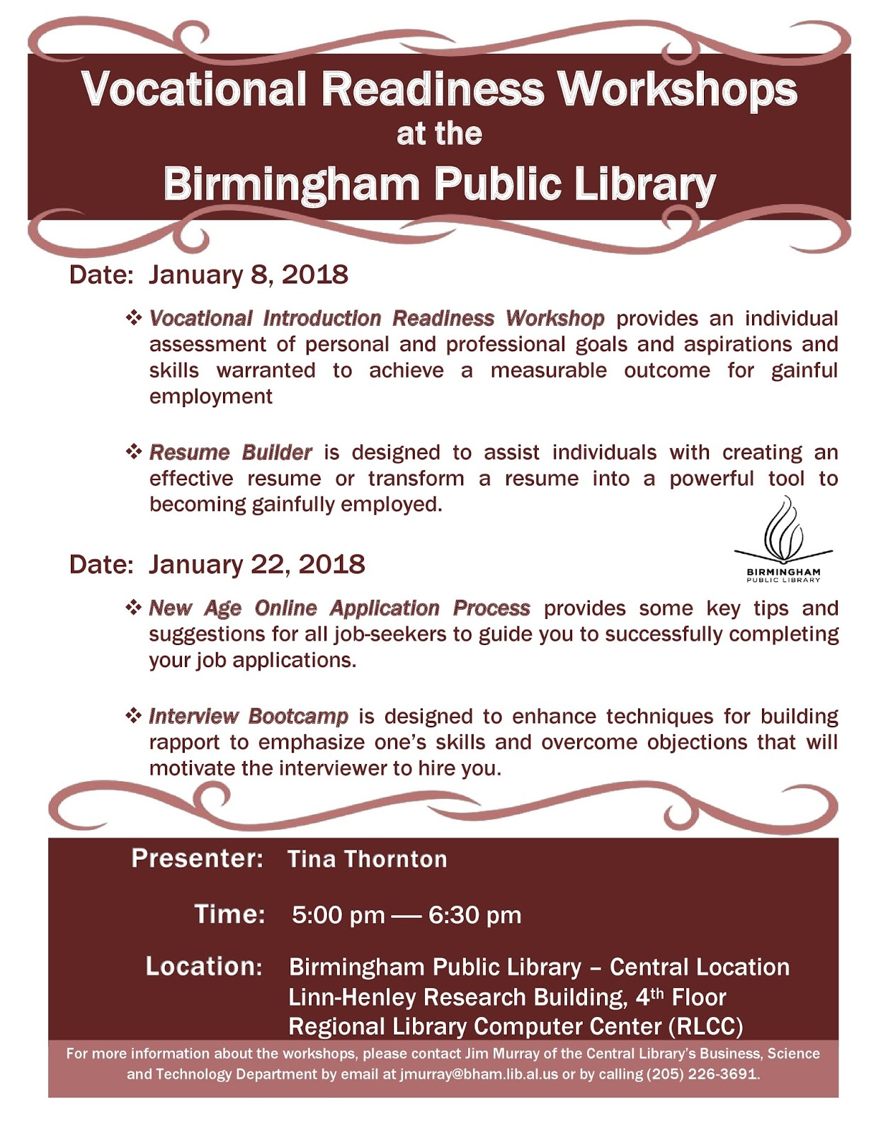 Birmingham Public Library Vocational Readiness Workshops in January