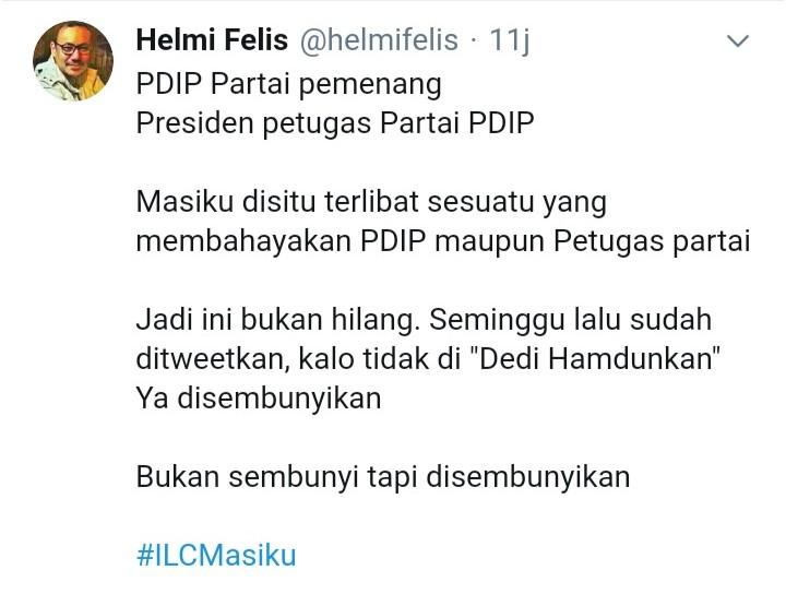 Sebut Harun Masiku Disembunyikan, Helmi Felis: Dia Terlibat Sesuatu yang Bahayakan PDIP