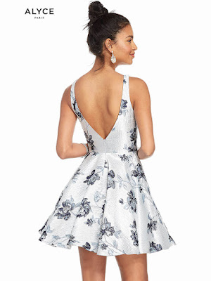 Bateau neckline Alyce Party Short Dress Silver-Navy Color Back Side