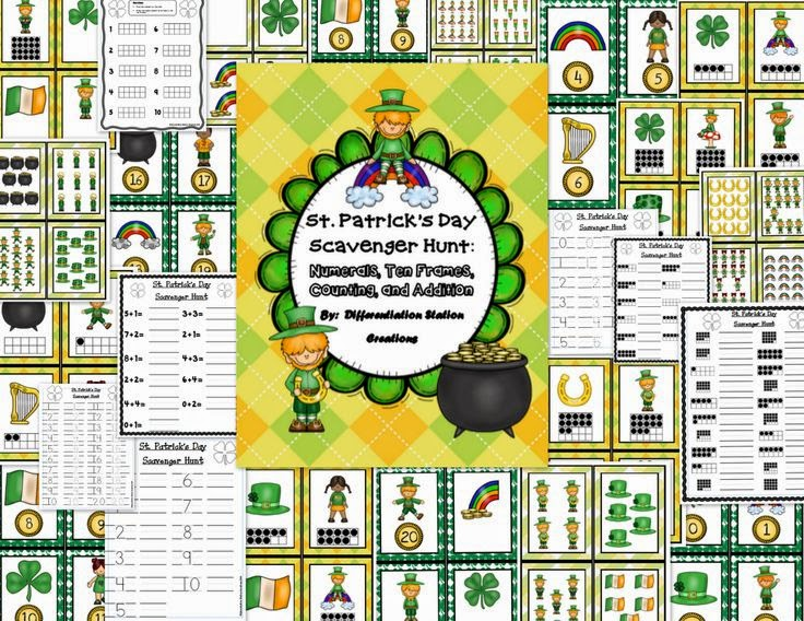 https://www.teacherspayteachers.com/Product/St-Patricks-Day-Math-Scavenger-Hunt-Numerals-Ten-Frames-Counting-Cardinality-1150725