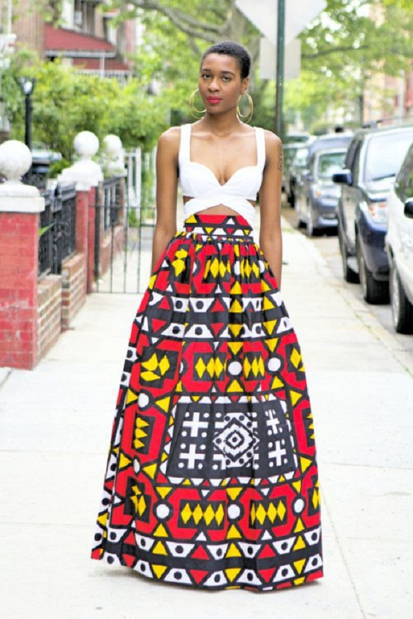 Photo collection of beautiful high waist a-line flared ankara long skirt for women and girls