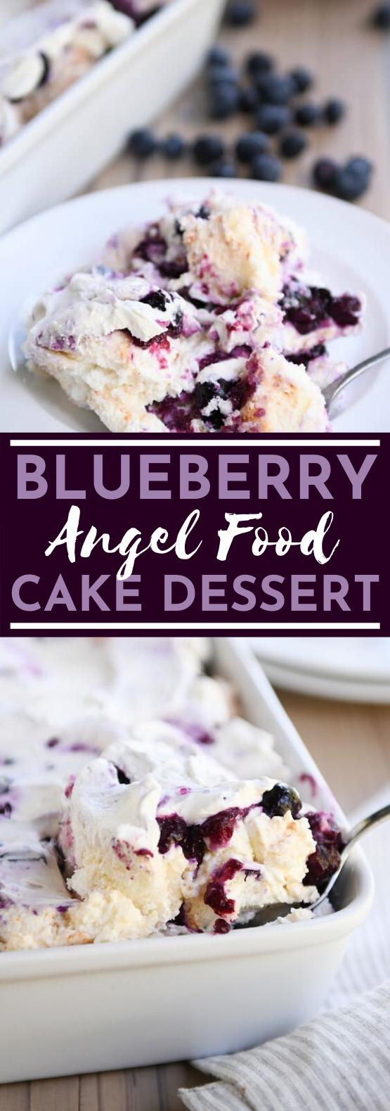 Blueberry Angel Food Cake Dessert #cake #recipes #baking #dessert #trifle