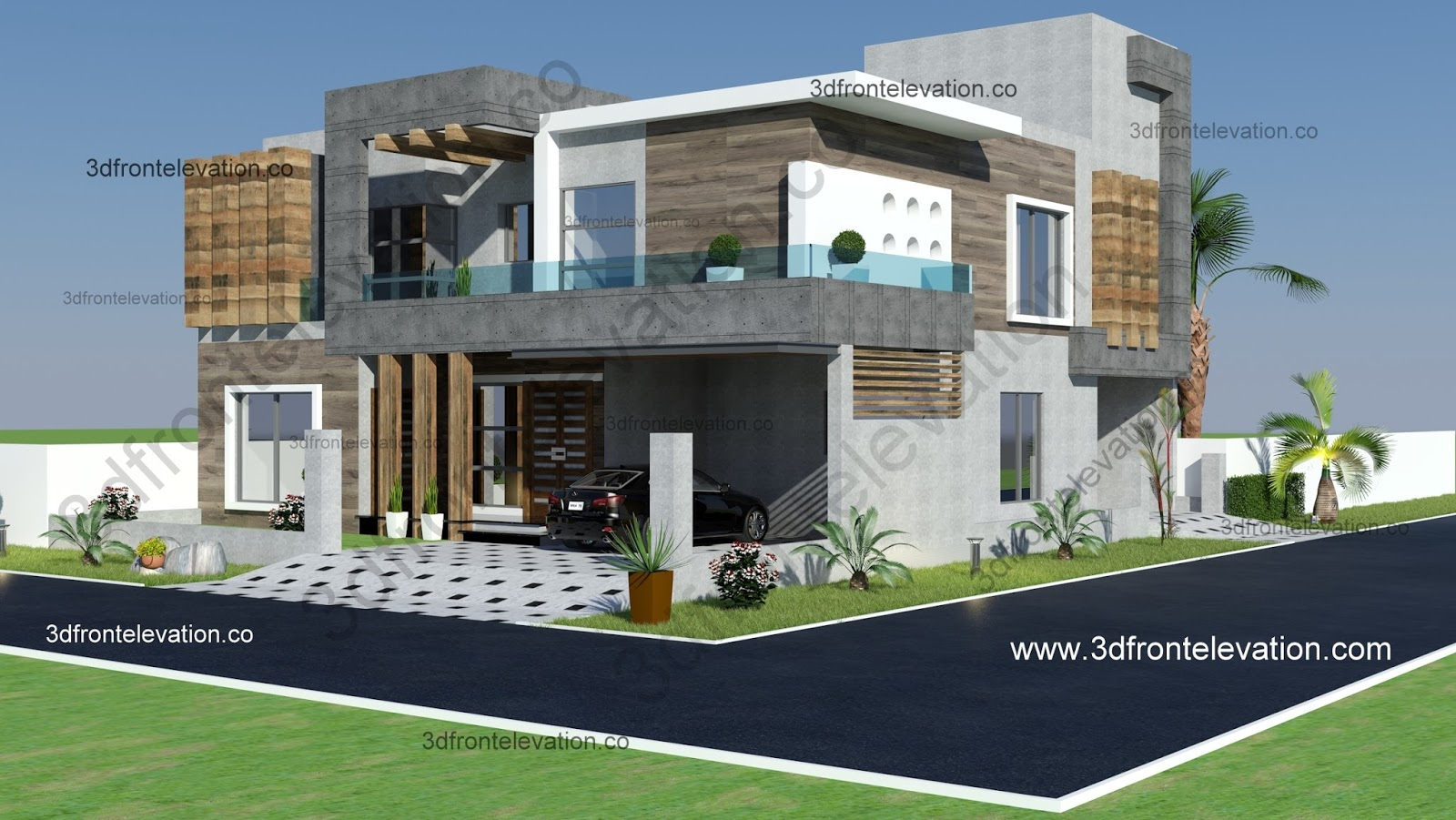 3d Front Elevation Corner House : D front elevation marla corner luxury house plan