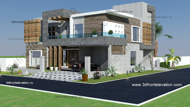 Home Design: 3D Front Elevation.com: 10 Marla Corner Luxury House Plan