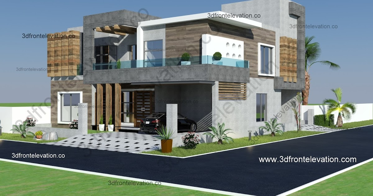 3d Front Elevation Lahore : D front elevation marla corner luxury house plan
