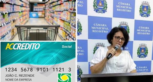 """Ver. Sandra quer Cartão """"ACCrédito"""" da ACIAR para famílias dos alunos comprarem alimentos no comércio com mais rapidez"""