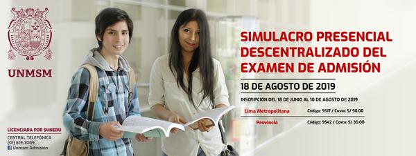Resultados del Examen Simulacro UNMSM 2020 - 1