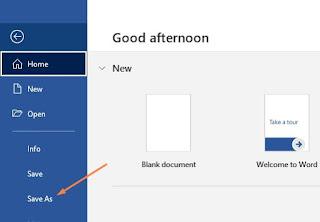 cara menyimpan dokumen di Word