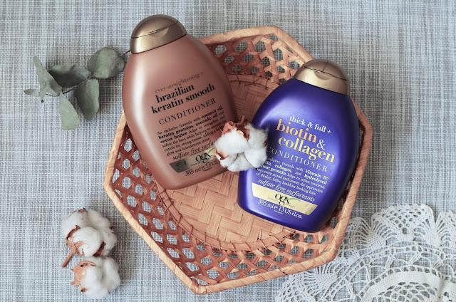 Кондиционеры OGX. Стоит ли верить рекламе и блогерам?    OGX Thick & Full Biotin & Collagen Conditioner Кондиционер для волос с биотином и коллагеном OGX Brazilian Keratin Therapy Conditioner  Кондиционер с кератином