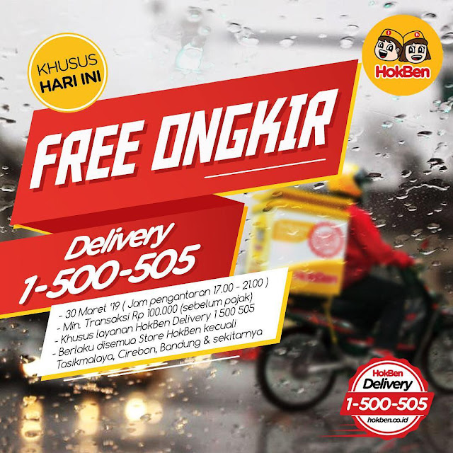 #Hokben - #Promo Free Ongkir Min Belanja 100K Pakai Hokben Delivery (30 Maret 2019)