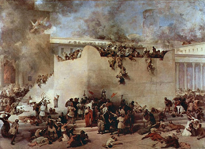 Painting of the siege of Jerusalem by the Roman army, in 70 AD.