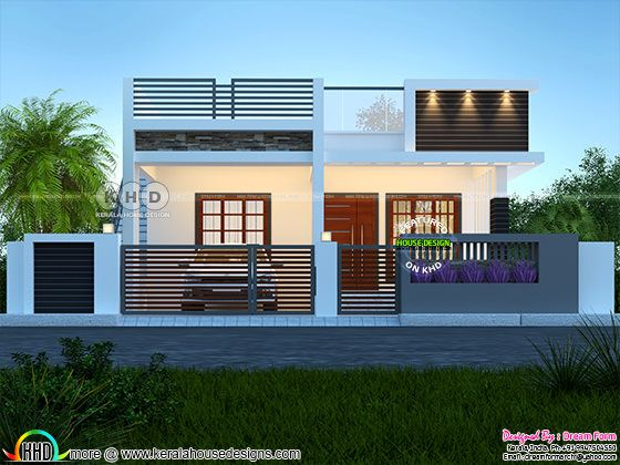 Single floor modern contemporary Kerala home rendering