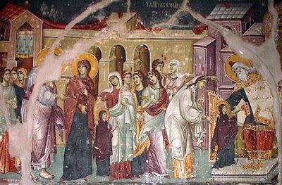 τα Εισόδια της Θεοτόκου του Μανουήλ Πανσέληνου από το Πρωτάτον του Αγίου Όρους