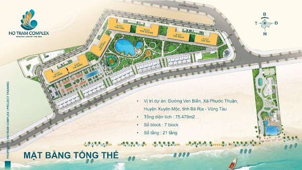 mặt bằng phối cảnh dự án Hồ Tràm Complex