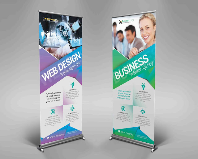 Creative, corporate, business, rollup banner, banner, stand banner, road sigh