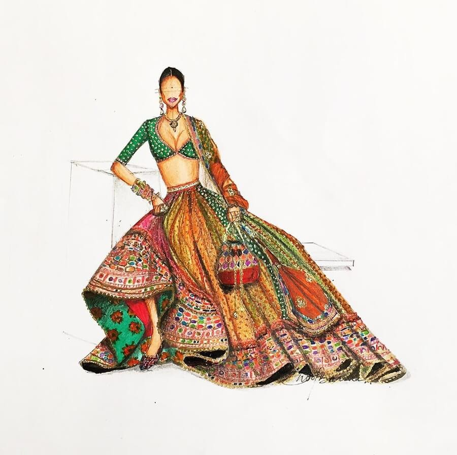12-Indian-Dress-Drawings-Anoopbarwa-www-designstack-co