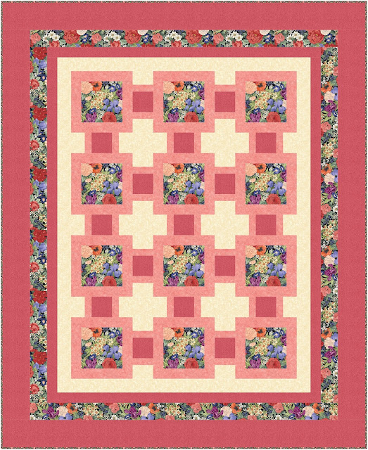 Framed floral squares in a quilt layout