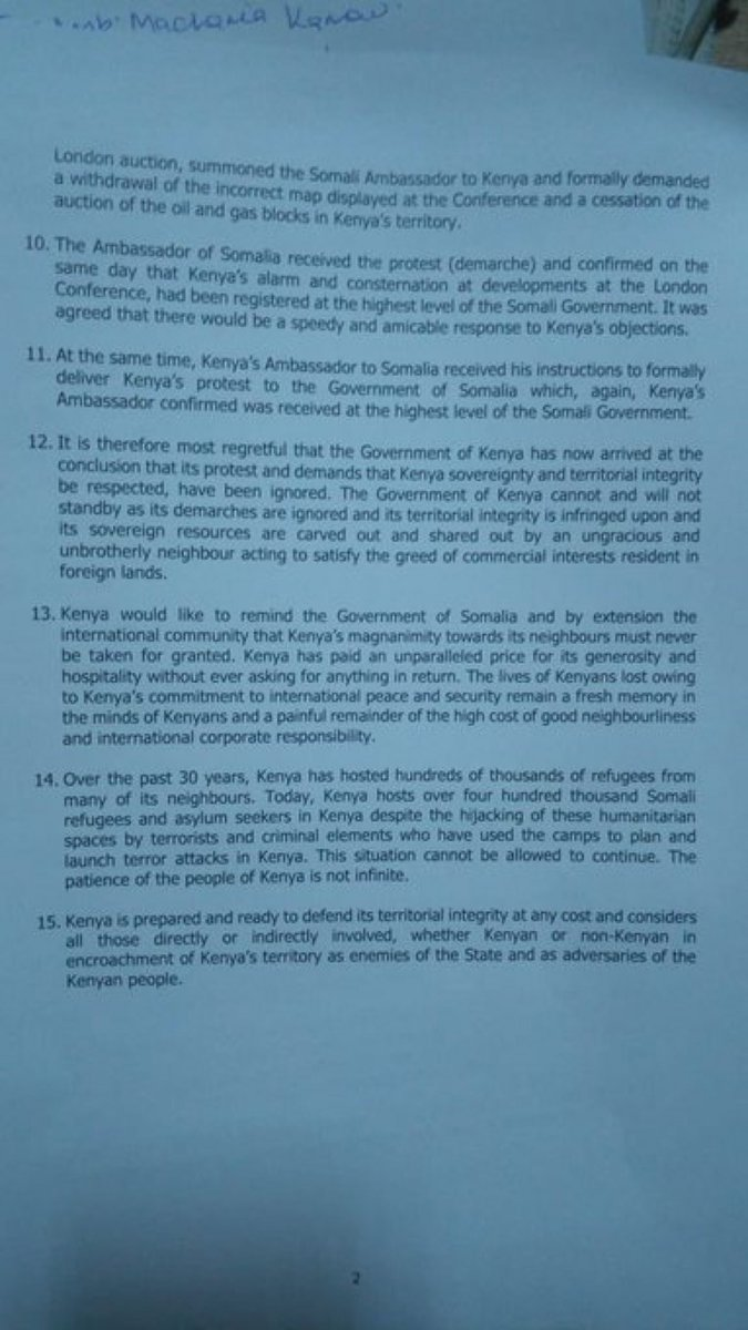 Full Statement Of Kenya's Serious Warning Message To Somalia