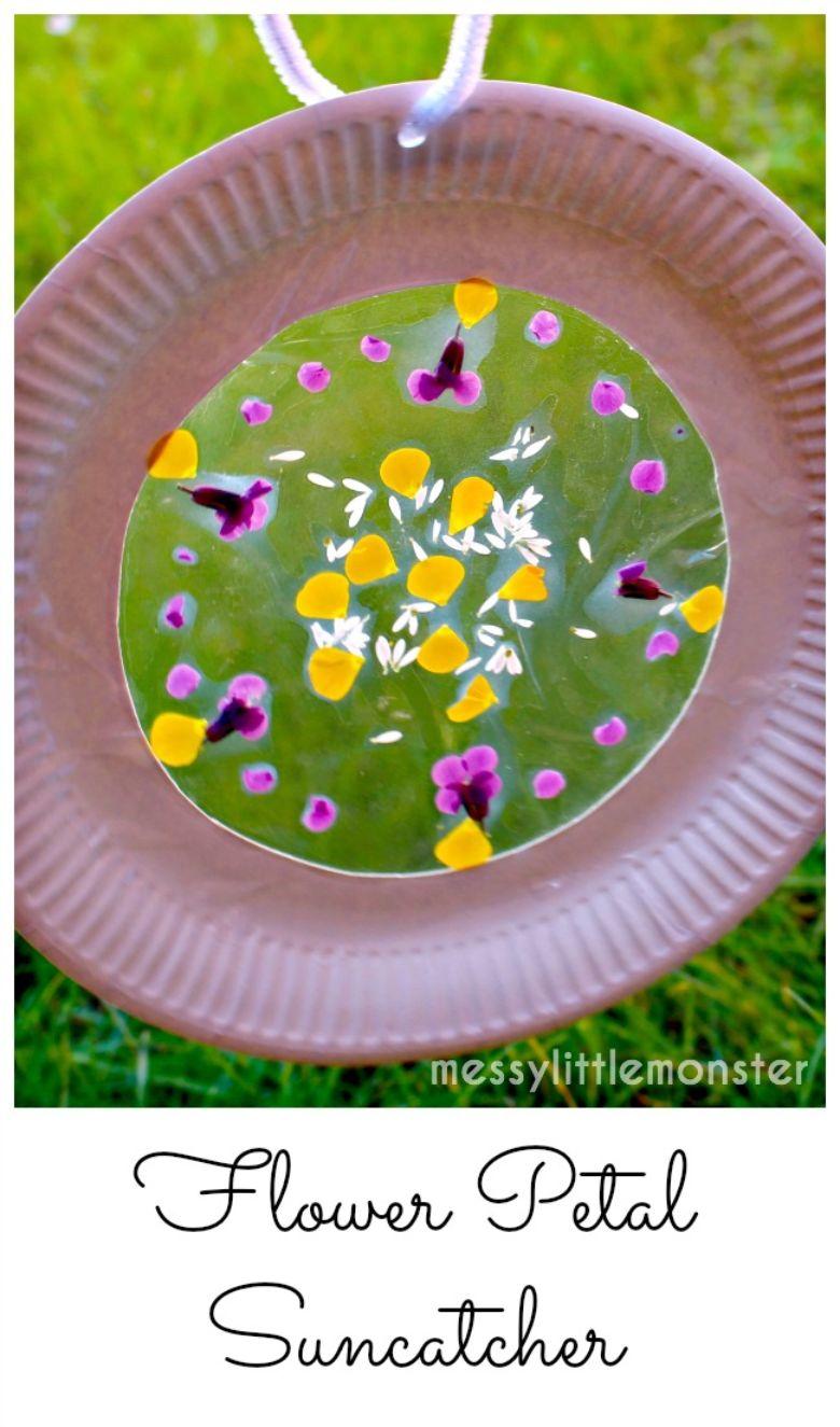 flower petal suncatcher nature craft for kids