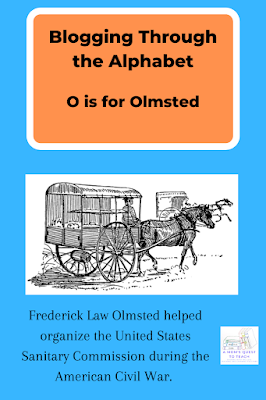 Blogging Through the Alphabet: O is for Olmsted; Frederick Law Olmsted helped organize the United States Sanitary Commission during the American Civil War. image of Civil War ambulance from wpclipart.com