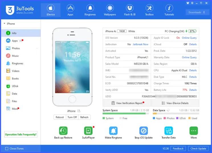 3uTools :   Η καλύτερη δωρεάν εφαρμογή διαχείρισης  συσκευών  iOS